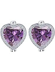 Yiwu Crystal PURPLE 18K PLATINUM PLATED METAL HEART EARRING Fashion Jewellery For WOMEN
