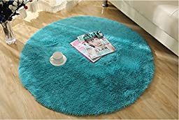 Norson Round Shaggy Area Rugs and Carpet Super Soft Sitting Room the Bedroom Home Carpet White Computer Chair Cushion (Blue, Diameter:47.2inches(120cm))