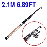 2.1M 6.89FT Portable Telescopic Fishing Rod Travel Spinning Fishing Pole for Outdoor Sports