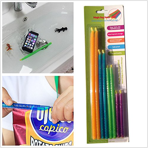 Yunko 8 pack - 4 Sizes Chip Clips Plastic Bag Sealer Stick; Air Tight, Water Tight Seal, Thin and Compact for Easy Storage, No Moving Parts