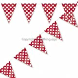 Ruby Red with White Polka Dots Flag Banner-12 ft