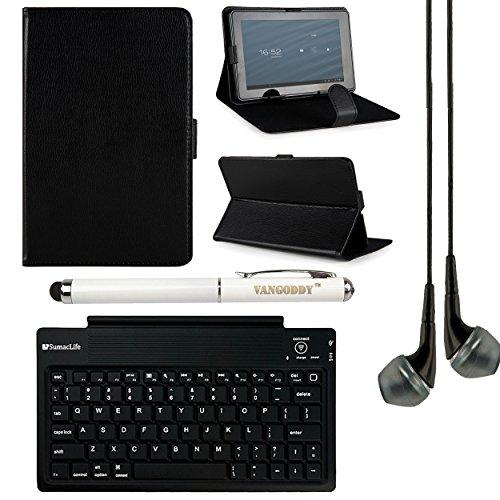 "Classic Collection Pu Leather Standing Portfolio Case For Lg G Pad V400 7"" Tablet + Bluetooth Keyboard + Laser Stylus Pen + Black Vg Headphones (Black)"