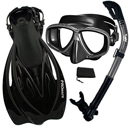 PROMATE Snorkeling Scuba Dive DRY Snorkel PURGE Mask Fins Gear Set, Bk/Ti, ML/XL