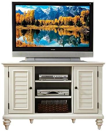 Home Styles Bermuda Brushed White Corner TV Stand