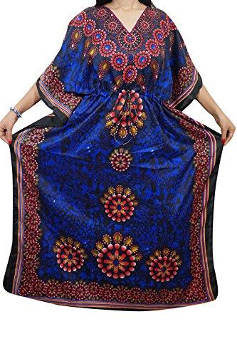 Indiatrendzs Womens Printed Viscose Fabric Long Kaftan Dress Dory at Waist Free Size  available at amazon for Rs.359