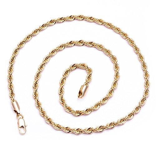 760b16d6afd70 Collier homme – plaqué or 24 carats – Chaîne torsadée brillante Hip Hop  Bling ...