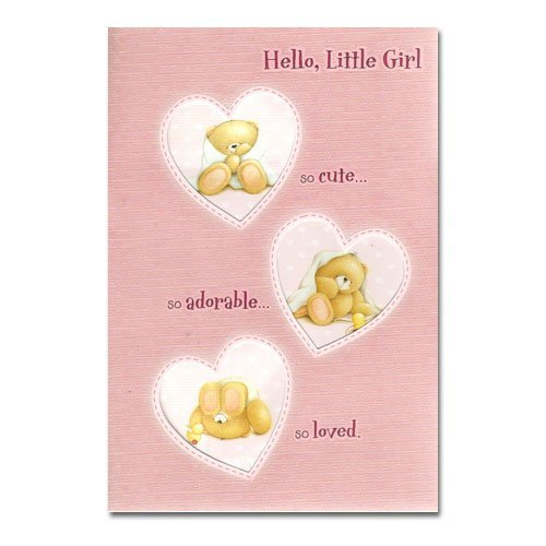 New Baby Girl Forever Friends Card front-963891