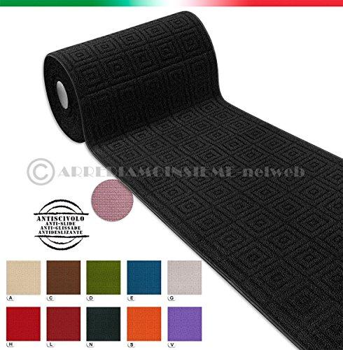 Tappeto corsia cucina SU MISURA AL METRO h57 cm tessitura 3D bordato tinta unita retro antiscivolo mod.EVITA (VERDE (D))