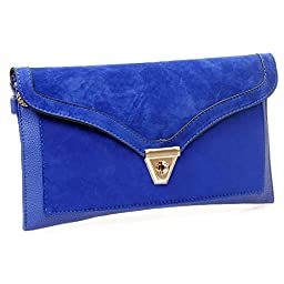 BMC Womens Sapphire Blue Textured PU Faux Leather Suede Topped Envelope Flap Handbag Fashion Clutch