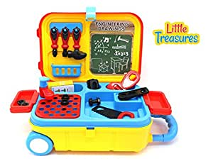 buy engineering carry along toolbox with wheels set of tools for 3 kids engineer tools with. Black Bedroom Furniture Sets. Home Design Ideas