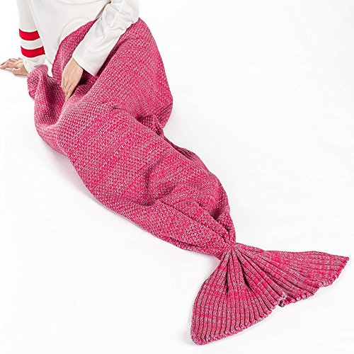 Prosshop Kids Knit Crochet Snuggle Mermaid Blanket Super Soft & Warm Polar Fleece Fabric Cute Whale Tail Shape Sleep Bags Rug for Bedroom Sofa Quilt Living Room (24'' (Princess Peach Costume Toddler)