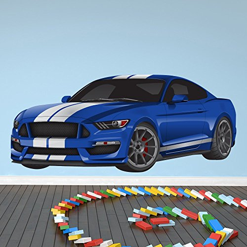 Blu Ford Mustang Sports Car Trasporti Colore Wall Sticker Home Art Stickers disponibile in 8 taglie Gigantesco Digitale