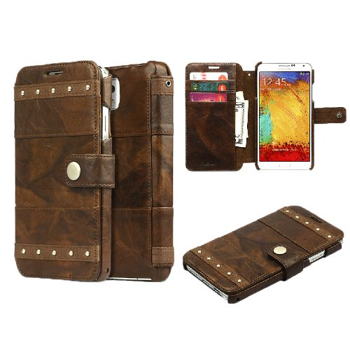 Moon Monkey Samsung Galaxy Note 3 Bohemian M Diary Wallet Case Cover High End Genuine Leather Case For Galaxy Note Iii (Brown)