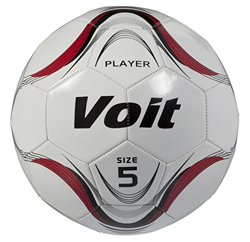 Voit Size 5 Player Deflated Soccer Ball, White and Red Graphic