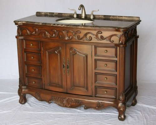 """54"""" Inch Wood Single Sink Bathroom Vanity With Marble Stone Top And Sink With 5 Year Replacement Warranty"""