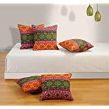 Swayam Drape And Dream Printed Cotton 5 Piece Cushion Cover Set - Red Multi (CC125-1424 )