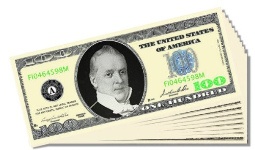 $100 Poker Night / Casino Night Novelty $100 Bill - 25 Count with Bonus Clear Protector & Christopher Columbus Bill - 1