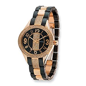 Fashionista Exquisite Rose Ip-plated/black Ceramic Watch by Moog Watches, Best Quality Free Gift Box Satisfaction Guaranteed