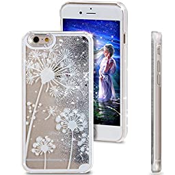 iPhone 4S Case,ikasus iPhone 4S Liquid Case,Case for iPhone 4S,Creative Design Flowing Liquid Floating Luxury Bling Glitter Sparkle Stars for Apple iPhone 4S 4,Silver White Dandelion