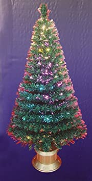 #!Cheap 6' Pre-Lit Color Changing Fiber Optic Artificial Christmas Tree - Multi Lights
