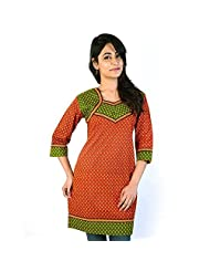 Jaipur RagaJaipuri Designer Red-Green Ethnic Cotton Top Rajasthani Kurti