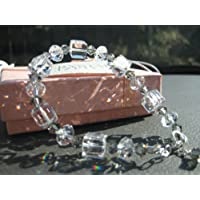925 Sterling Silver Swarovski Clear Black Diamond Crystallized Bracelet Earrings Set