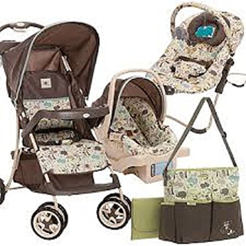 Cosco Super Safari Travel System, Baby Stroller, Car Seat, Diaper Bag & Bouncer Bundle