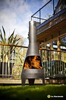Canyon Large 125cm High Black Steel Chimenea Chiminea Patio Heater from LA HACIENDA LTD