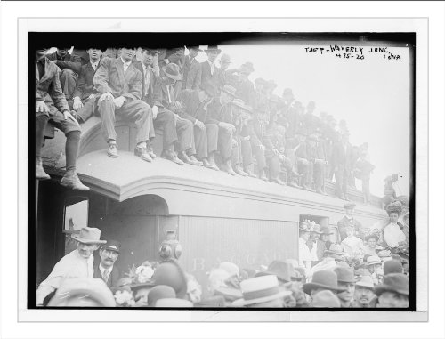 Crowd sitting on baggage car and on ground, for Taft, Waverly Junction, Iowa