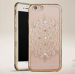 iPhone 6 Plus Case,Inspirationc® Bling Rhinestone Clear Rubber Plating Frame TPU Soft Silicone Bumper Case Cover for iPhone 6 Plus/6S Plus 5.5 Inch--YIMI Gold