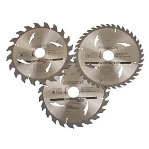 Silverline 590591 Lot de 3 lames de scie circulaire TCT 20T, 24T et 40T 190 x 30 mm