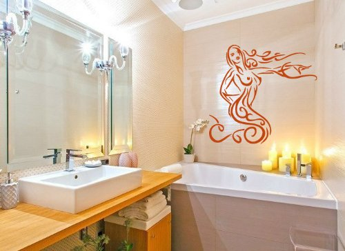 Housewares Wall Vinyl Decal Charming Mermaid Girl Beauty Salon Bathroom Interior Home Art Decor Kids Nursery Removable Stylish Sticker Mural Unique Design For Any Room front-156776