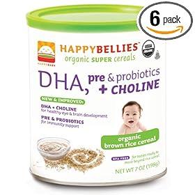 (新低)HAPPYBELLIES禧贝DHA+益生菌+胆碱有机糙米米粉6罐SS后$20.39