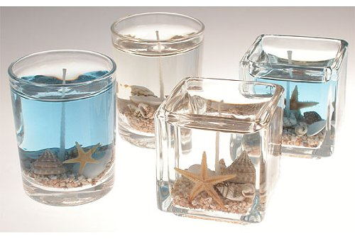 Beach Candle Favor - set of 4 - Round - Clear
