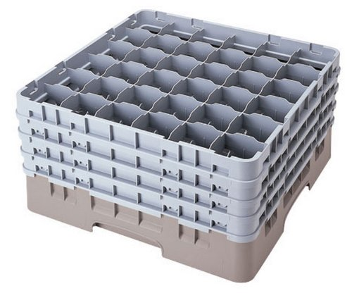 Cambro 36S1114-151 11-3/4-Inch Camrack Polypropylene Stemware And Tumbler Glass Rack With 36 Compartments, Full, Soft Gray