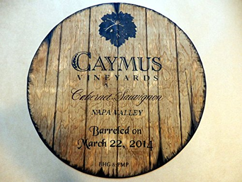 Caymus Vineyards Personalized decorative sign - wine barrel top | Wall art- painting on carved plywood | Handpainted artwork and your additional message on a distressed wood sign | Rustic wall decor (Wine Barrel Wall Decor compare prices)