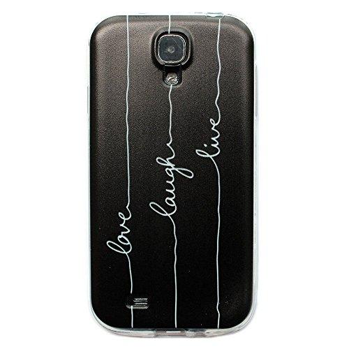 JIAXIUFEN Neue Modelle TPU Silikon Schutz Handy Hülle Case Tasche Etui Bumper für Samsung Galaxy S4 i9500 (Nicht für Galaxy S4 mini i9190/i9195) -Love Laugh Live on Black Back Style