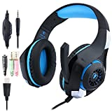 Beexcellent ゲーミングヘッド ヘッドホン高音質 騒音隔離 軽量 ブラック&ブルー