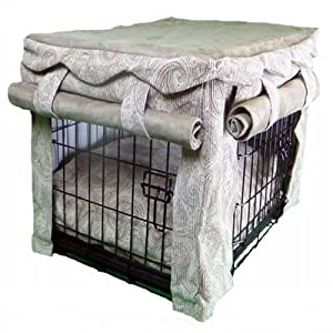 Snoozer Cabana Pet Crate Cover with Pillow Dog Bed, Large, Sicilly Bone/Peat