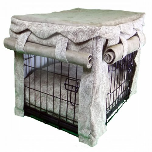 Snoozer Cabana Pet Crate Cover With Pillow Dog Bed, Large, Sicilly Bone/Peat front-907261