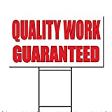 Quality Work Guaranteed Auto Body Shop Car Plastic Yard Sign /FREE Stakes 18 x 24 Inches Two Sides Print
