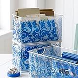 Mesh Desk Organizer Stuff Box White and Blue Brocade