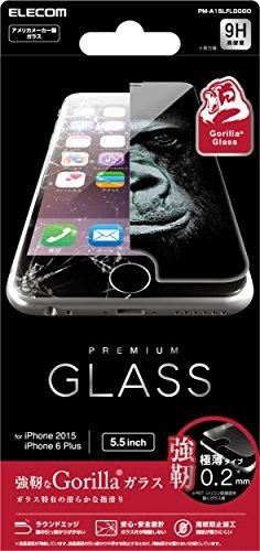 ELECOM iPhone 6s Plus/6 Plus 液晶保護ガラスフィルム ゴリラガラス 浮かない [3D touch 最高硬度9H 極薄0.2mm ラウンドエッジ加工 飛散防止設計] PM-A15LFLGGGO