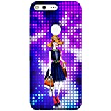 Google Pixel XL Back Cover Blue Dress Girl With Brown Hat Design From FUSON