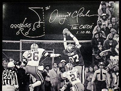 Dwight Clark Signed B&W 16x20 Photo 49ers