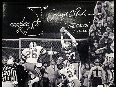 Dwight Clark Signed B&W 16x20 Photo 49ers