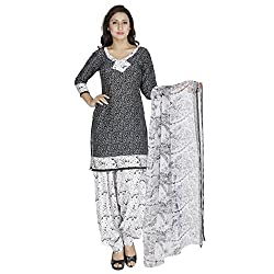 Egale Buzz Women's Silk Cotton Unstitched Dress Material (Black)