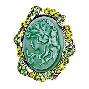 Pugster Classic Antique Lady Maiden Profile Green Cameo Floral Emerald Green Swarovski Crystal Diamond Accent Brooches And Pins