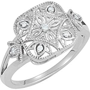 IceCarats Designer Jewelry Sterling Silver .05 Ct Tw Diamond Ring. Size 5