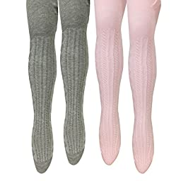 Bowbear Toddler Girl 2-Pair Cable-Knit Tights, Gray & Pink (Size 5-6)